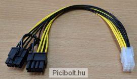 PCI Express tápkábel 6 pin anya > 2 x 8 pin apa 20 cm